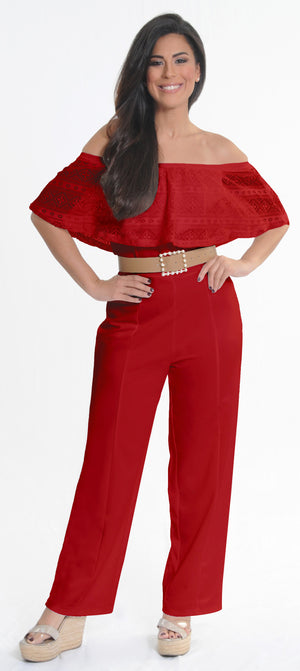 Red Lace Jumpsuit | H-236