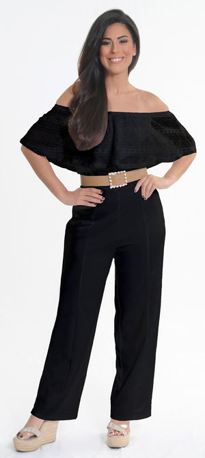 Black Lace Jumpsuit | H-236