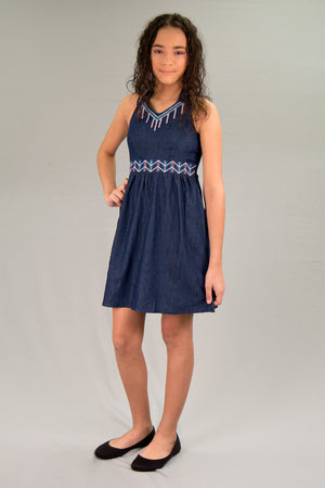 Girls Light Denim Dress | H-2601 G - Hectik  - 1