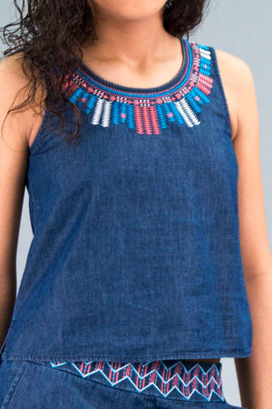 Girls Light Denim Top w/ Embroidery | H-2603 G - Hectik  - 2