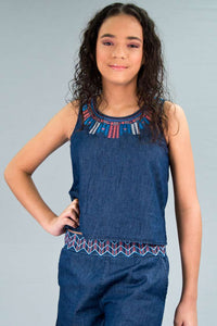 Girls Light Denim Top w/ Embroidery | H-2603 G - Hectik  - 1