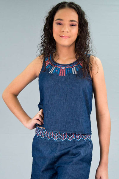 Girls Light Denim Top w/ Embroidery | H-2603 G