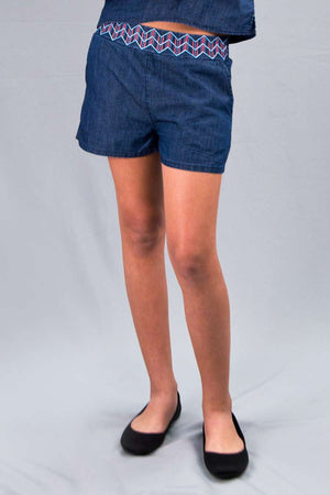Girls Light Denim Shorts w/ Embroidery | H-2604 G - Hectik  - 1