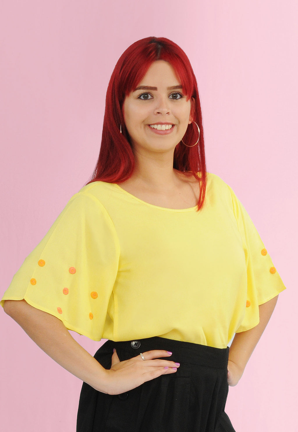 Embroidered Lemon Ladies Top | H-275L