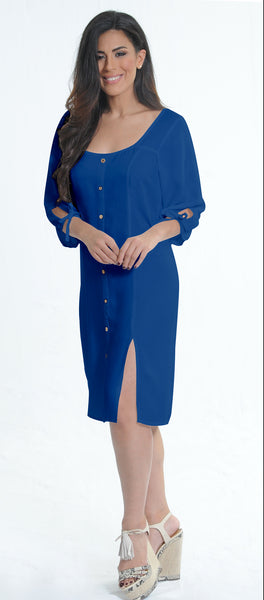 Solid Blue Dress | H-212