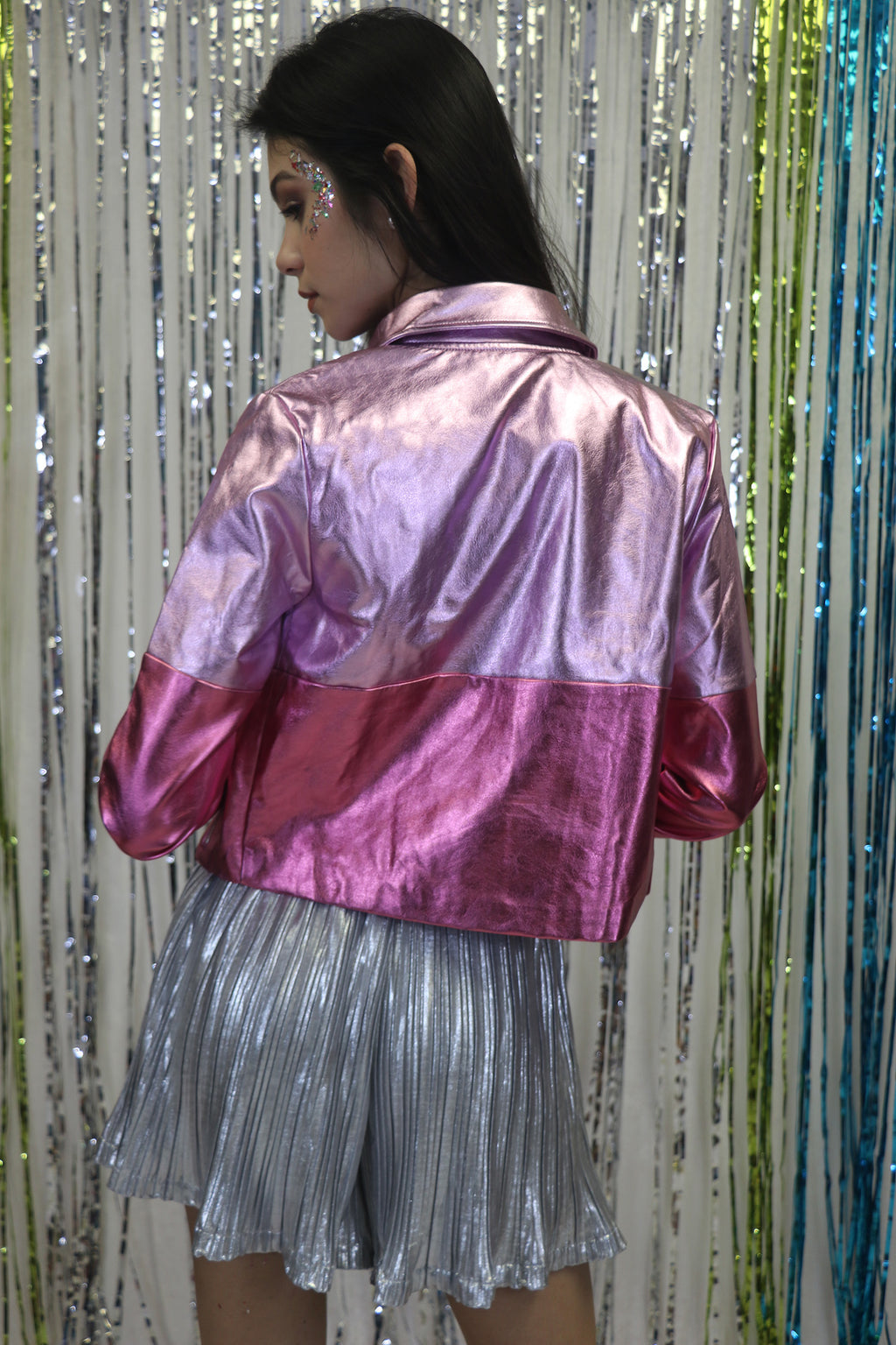 Metallic Faux Leather Jacket | 71T2642H