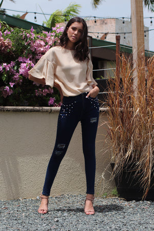 Pearl Beaded Jeans | H-2670