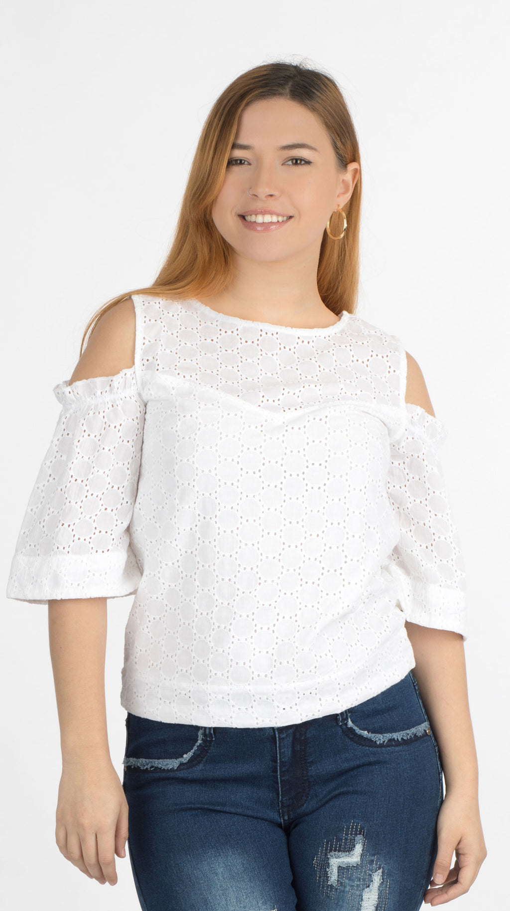 White Cold Shoulder Top | H-349