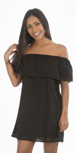 Black Off Shoulder Dress | H-352