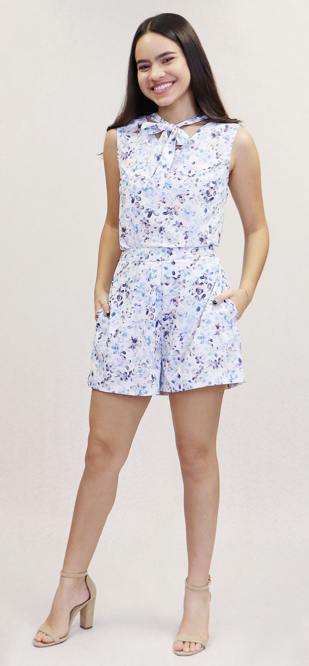 Blue Abstract Floral Shorts | H-390 (opt1)