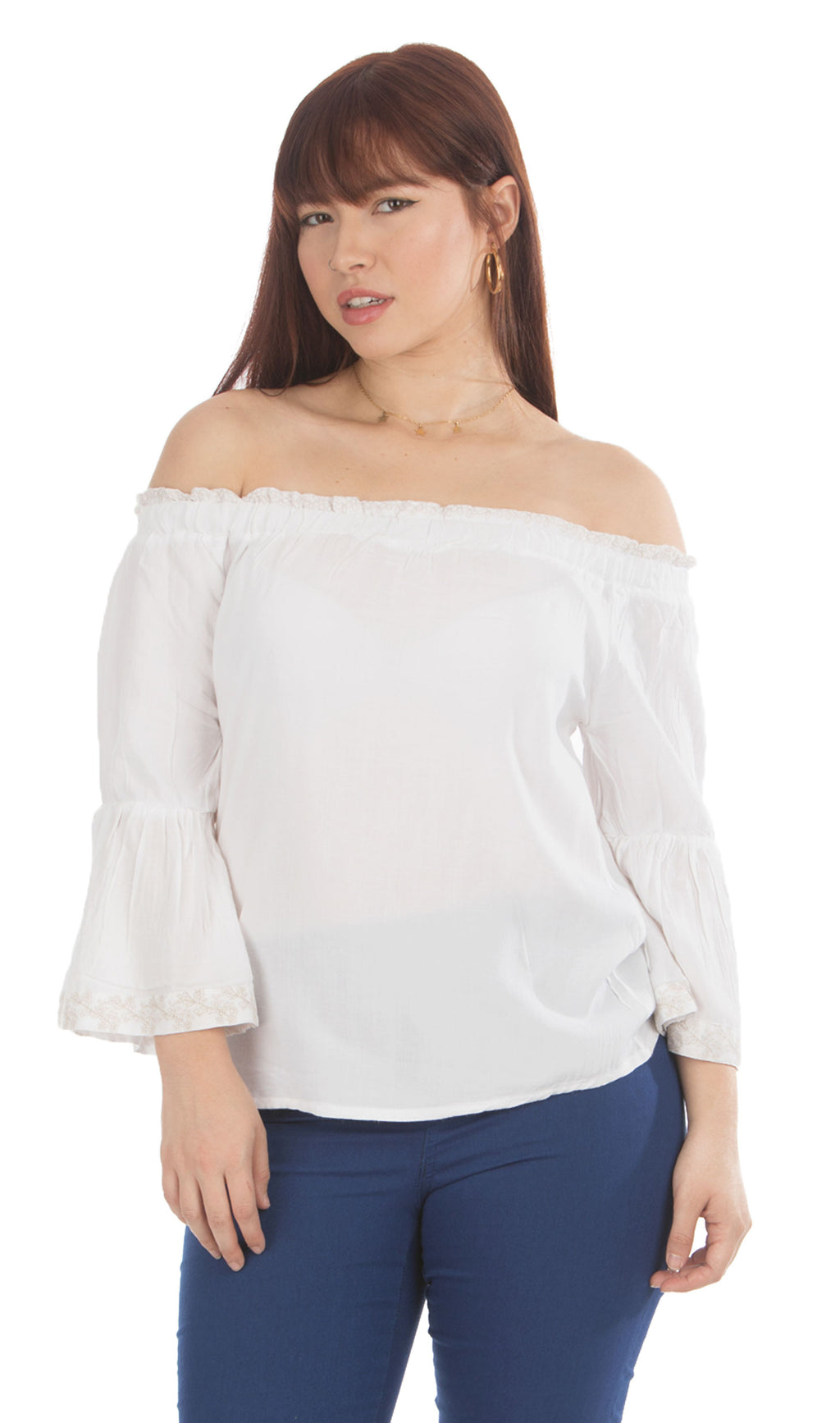 White Bell Sleeve Top | 656