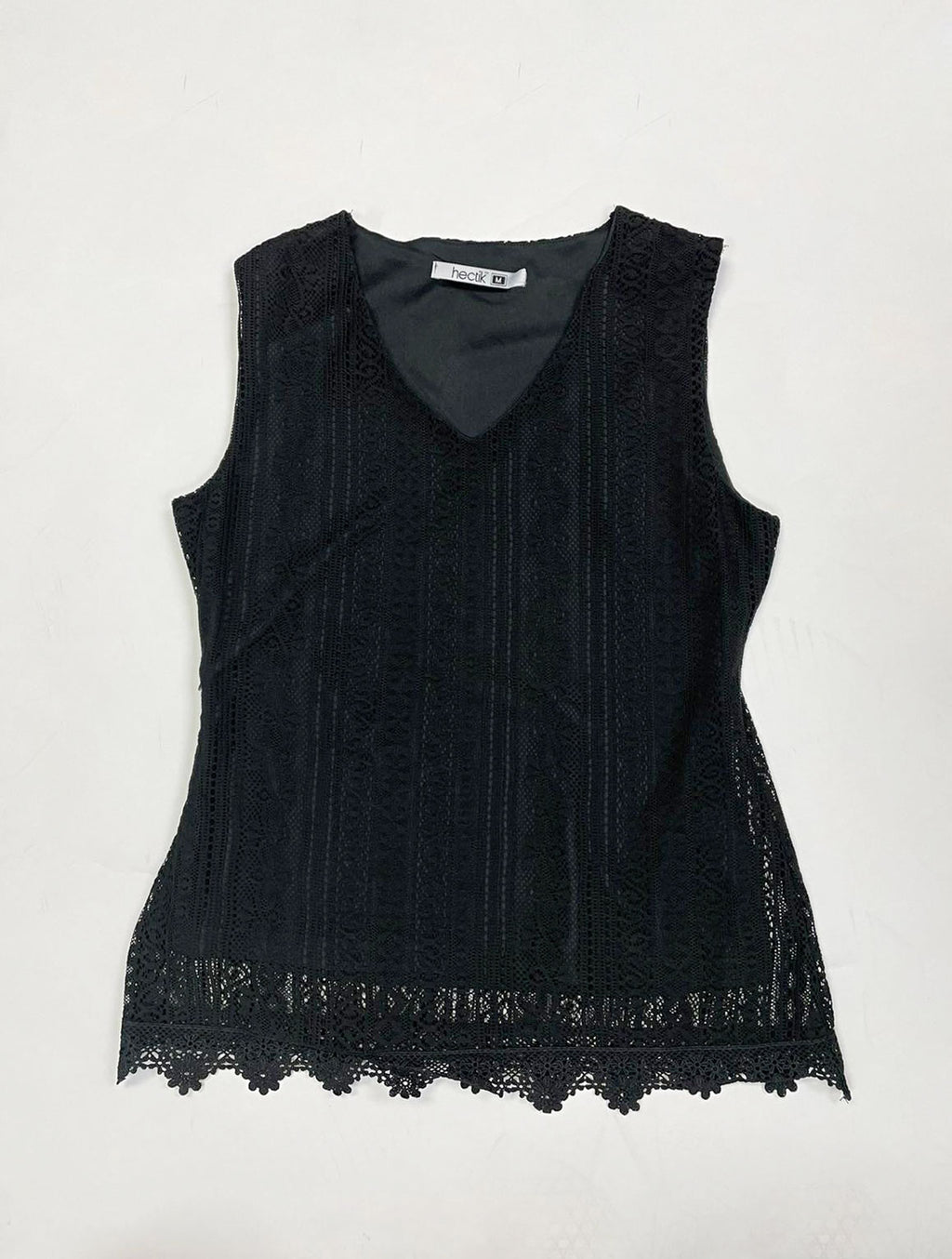 Black Sleeveless Lace Top | IQ-227