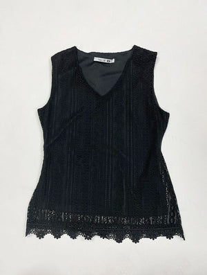 Black Sleeveless Lace Top | H-227