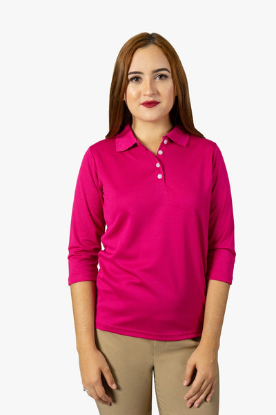 SJ- 2273G | Women's Quarter Sleeve Tee with collar