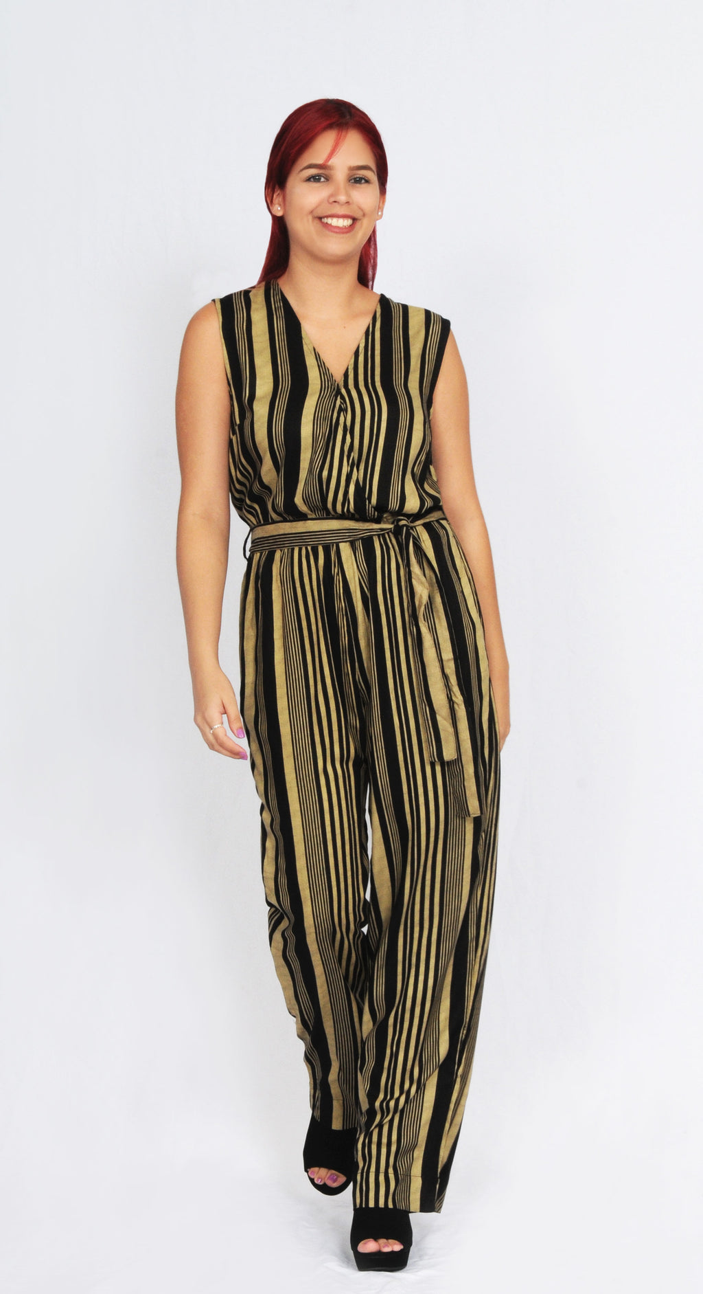Striped Jumpsuit (Black/ Gold) | WA31149RT
