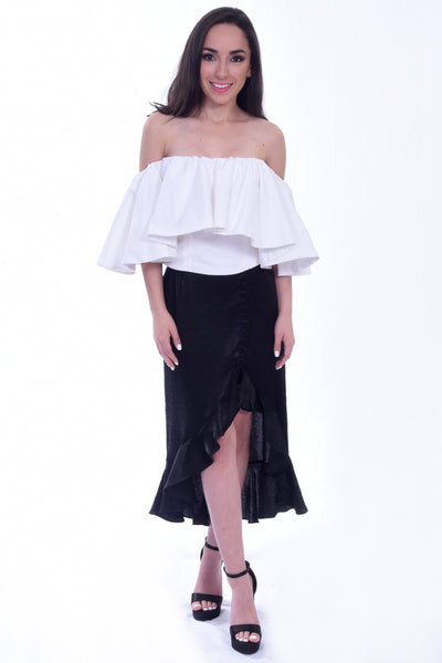 Black Asymmetrical Skirt | H-1040