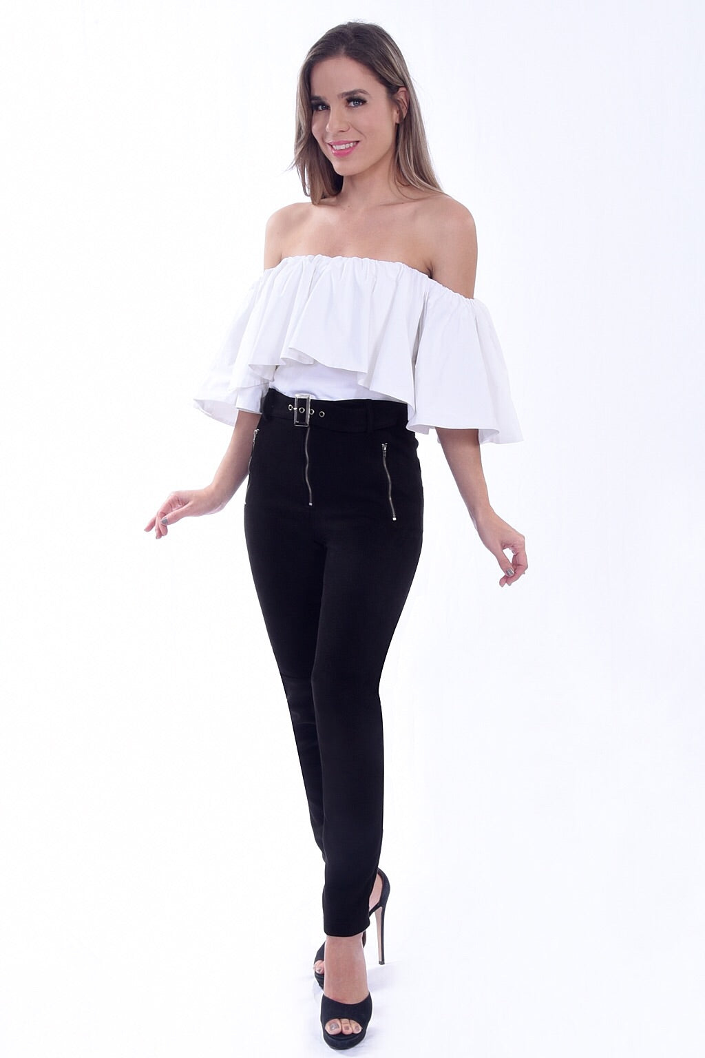 H-1038 l White Off Shoulder Top