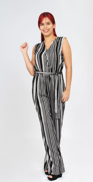 Striped Jumpsuit (Black/ Silver) | WA31149RT