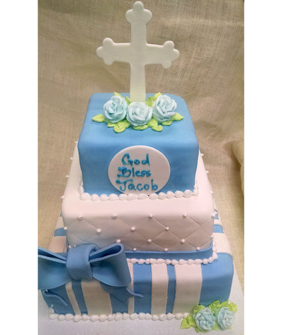 Three Tiered Bow & Cross Cake