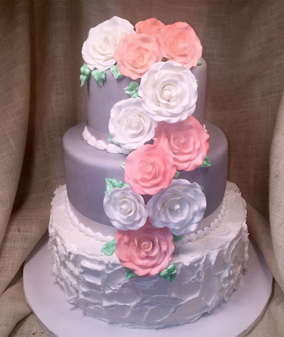 Cascading Roses on Gray and White