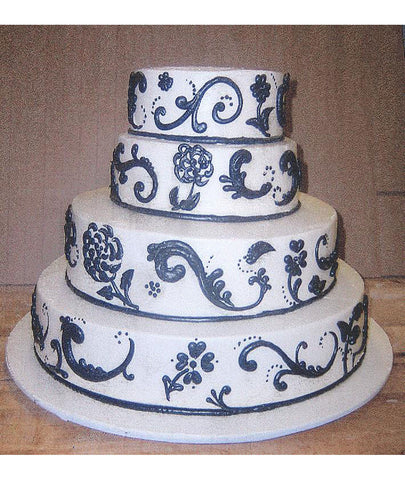 Large Paisley Flower & Scroll Cake