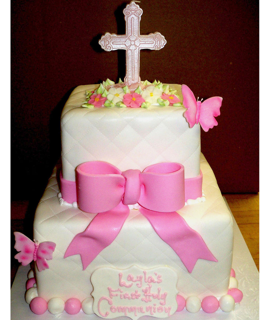 Quilted Bow Cross Cake