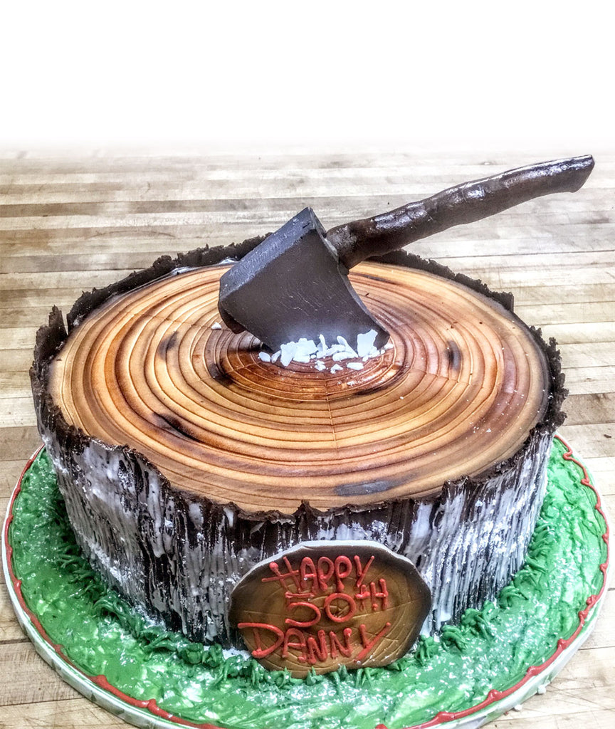 Tree Stump Cake with Chocolate Axe