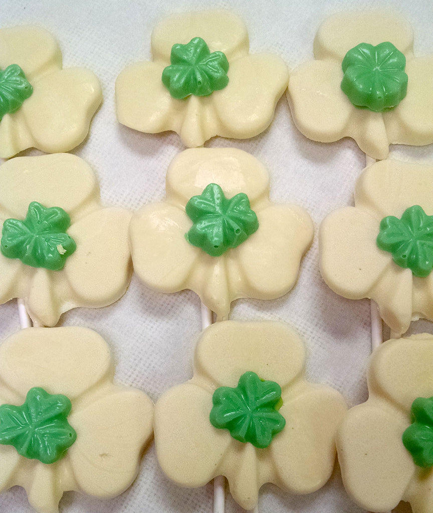 White Chocolate Shamrock Pops