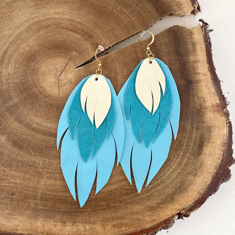 Bohemian Leather Feather Earrings / Turquoise and Ivory