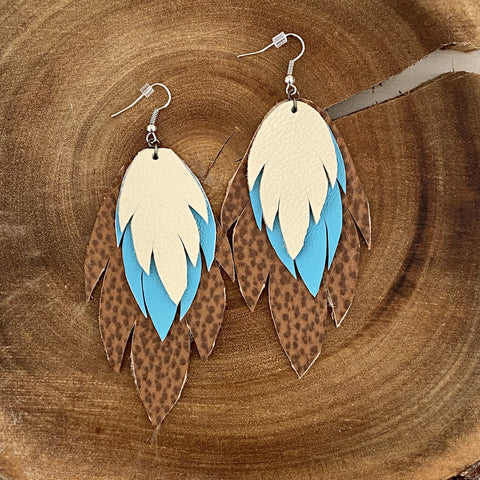 Bohemian Leather Feather Earrings / Turquoise ivory & brown