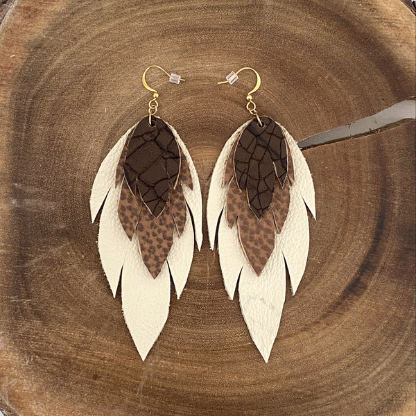 Bohemian Leather Feather Earrings / Neutral earth tones