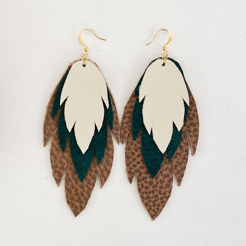 Bohemian Leather Feather Earrings / Forest Green & Ivory
