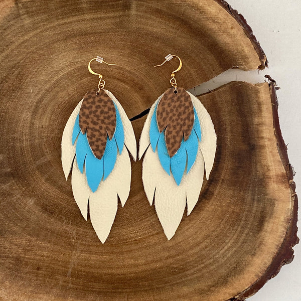Bohemian Leather Feather Earrings / Turquoise brown and ivory