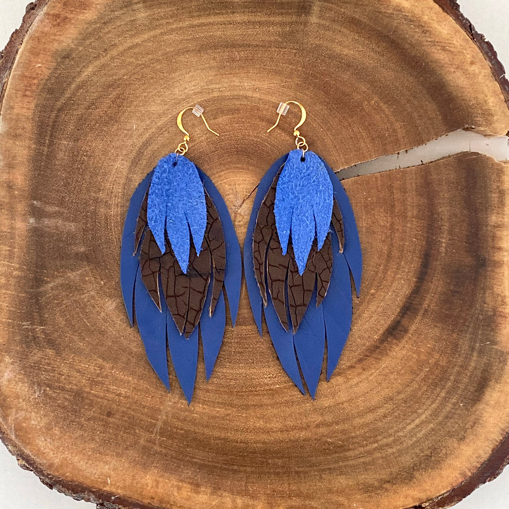 Bohemian Leather Feather Earrings / Blue