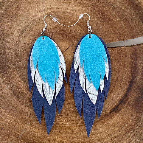 Bohemian Leather Feather Earrings / Turquoise and navy