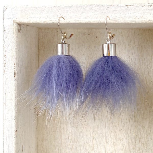 Upcycled Fur Pompom Earrings / Purple