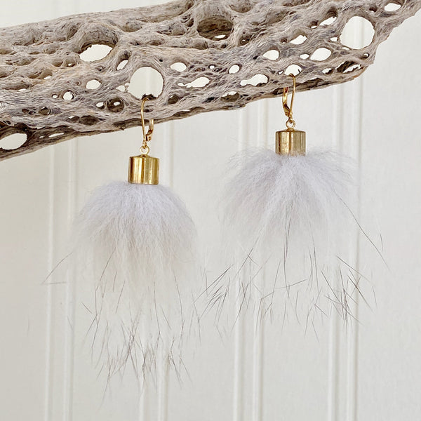 Upcycled Fur Pompom Earrings / White