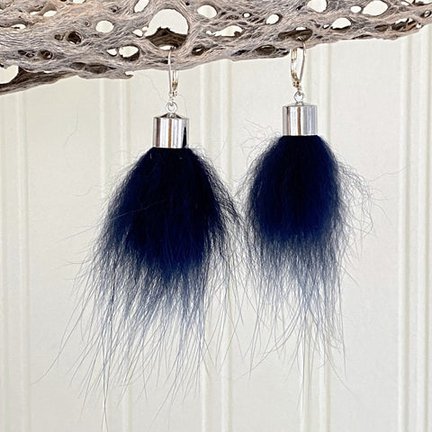 Upcycled Fur Pompom Earrings / Midnight Blue