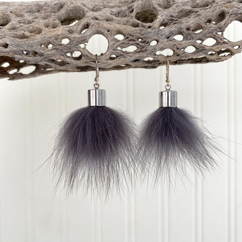 Upcycled Fur Pompom Earrings / Payne's Grey