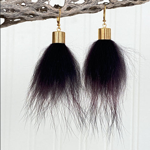 Upcycled Fur Pompom Earrings / Burgundy