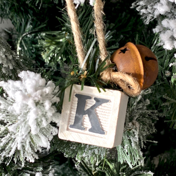 Wooden Monogram Letter Block Ornaments