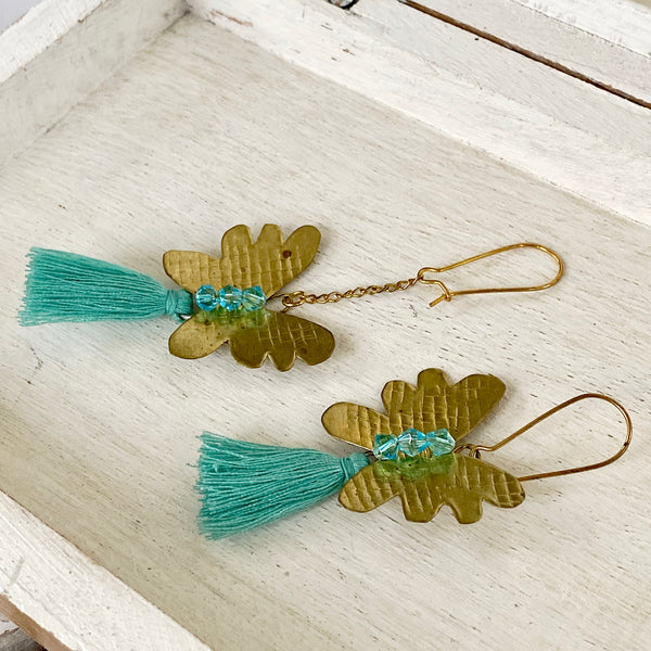 Asymmetrical Earrings / brass butterflies