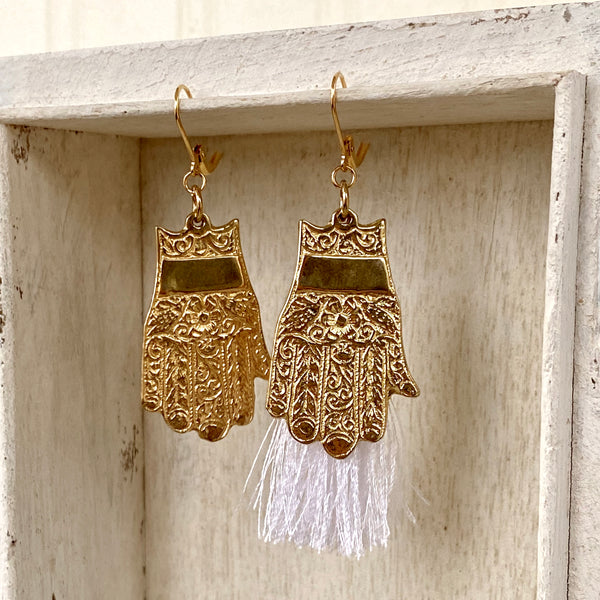 Asymmetrical Earrings / Hamsa Hand