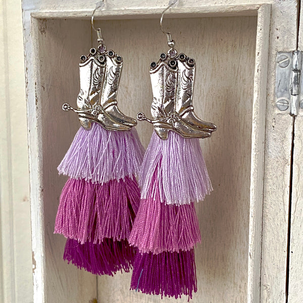 Asymmetrical Earrings / Purple fringe cowboy boots