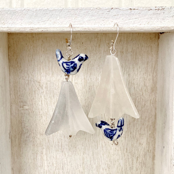 Asymmetrical Earrings / Blue birds