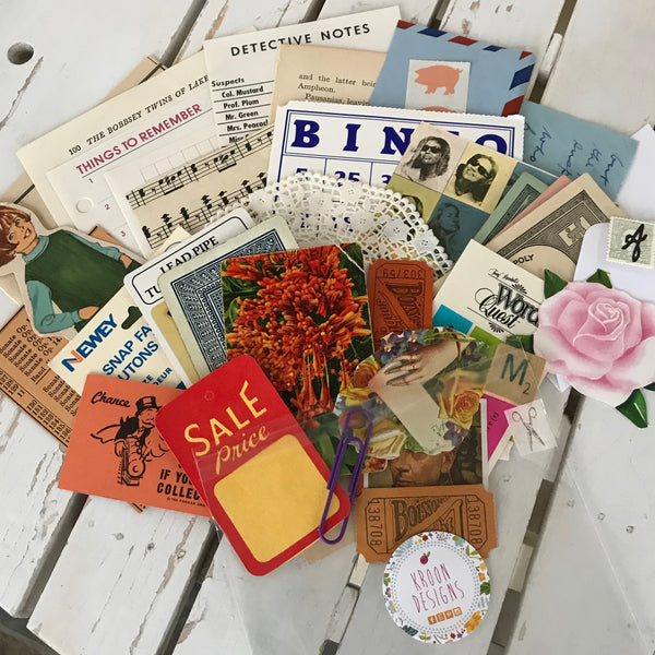 Vintage Ephemera Pack, Junk Journal, Collage, Scrapbooking Kit