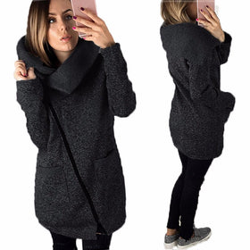 Warm Long Cardigan Sweater Jackets Fashion Side Zipper Knitted Outerwear Coat Plus Size 5XL