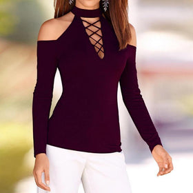 Long Sleeve Off Shoulder Lace Up Deep V Neck T-Shirt Tees Casual Spring Slim Tops T Shirt Plus Size