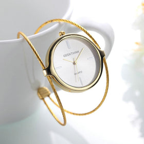 Simple Style Women's Extremely Minimalist Bracelet Watch Ladies Rose Gold Double Ring Band Quartz Watch Female Gift Elegant