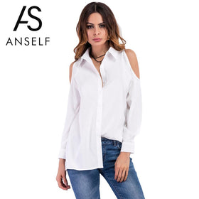 Anself Sexy Off Shoulder Summer Women Blouses Long Sleeve Solid Causal Shirt Women Hollow Out Boho Tops Plus Size Blusas White